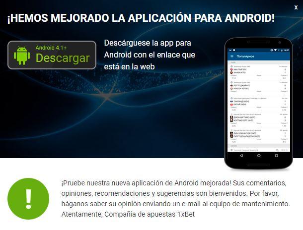 aplicación 1xBet Android